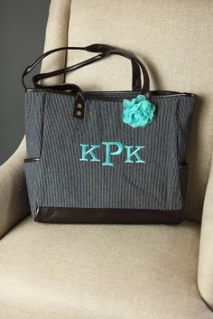 Thirty One Gifts Cindy Tote with Turquoise Initials & Rosette.  contact me to book a party or to place an order at www.mythirtyone.ca/marindab