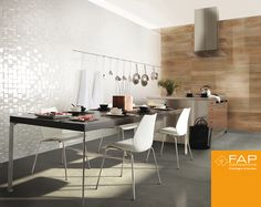 Bring a striking contemporary elegance to your space with our three dimensional wall coverings. Modern Kitchen Tiles, White Wall Tiles, Tile Suppliers, Bathroom Floor Tiles, Decorative Tile, Wall Spaces, Tile Design, Designer, Dining Table