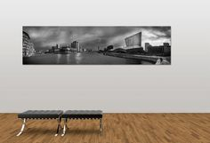 Black and white landscape panoramic photograph of the Salford Quays Skyline / urban / canvas Print / wall art / home decor / Photography