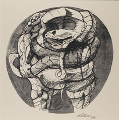"""""""Illustration for Dante's Inferno"""", n.d., Rico Lebrun, American, b. Italy (1900-1964), lithograph on paper, 11 1/2 x 11 1/4 in. Museum purchase with funds from the Benefactors Fund, 1977. 1977.2461"""