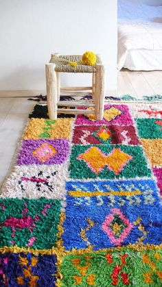 loveliegreenie....Hooked rugs, the brighter and more colourful the better, are back in a big way. They're bohemian AND shabby chic AND English cottage AND they are the best way to relax since Adult Colouring Books. All you need is a latch-hook, and it's far, far simpler than crochet or all those other things you've always meant to learn...... (if you're like me) WIN WIN WIN
