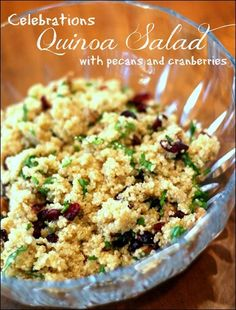 Quinoa for breakfast? Simply stir pumpkin, brown sugar, cinnamon, ginger and nutmeg into still-warm prepared quinoa. Serve Pumpkin Breakfast Quinoa with vanilla yogurt, chopped pecans and dried cranberries. Best Quinoa Salad Recipes, Vegetarian Recipes, Cooking Recipes, Healthy Recipes, Cooking Tips, Quinoa Nutrition, Cranberry Quinoa Salad, Cranberry Recipes, How To Cook Quinoa
