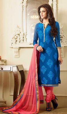 Blue Shade Chanderi Cotton Silk Chudidar Dress Exhibit your ethnic style draping this blue shade chanderi cotton silk chudidar dress. You can see some fascinating patterns accomplished with butta, lace and resham work. #CottonSilkChudidarDress #AnarkaliSuitsOnline