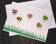 Heart Button Garden. Hand made Heart Button Garden 3D Blank Card. Mother's Day, Birthday, Thinking of You. Can be sent direct. SC02