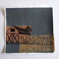 Rural Barn Corn Field Linocut Monoprint Collage by zmedceramics, $60.00