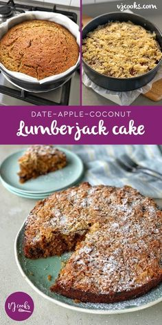 10 minutes Esay Cacke : vj cooks date apple and coconut - lumberjack cake Easy Cake Recipes, Apple Recipes, Baking Recipes, Dessert Recipes, Desserts, Healthy Recipes, Gf Recipes, Fall Recipes, Recipies