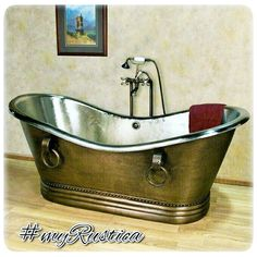 Free standing, slipper and soaking copper tubs handmade in Mexico by Rustica House. High rating bath copper fixtures for colonial hacienda, traditional country, modern and rustic bathrooms. #myrustica #rusticahouse