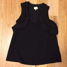 Anthropologie black ruffle top by Deletta Super cute anthro top! Cotton poly spandex. Only worn once. It's stretchy, fits loose A-line. Size S Anthropologie Tops Blouses