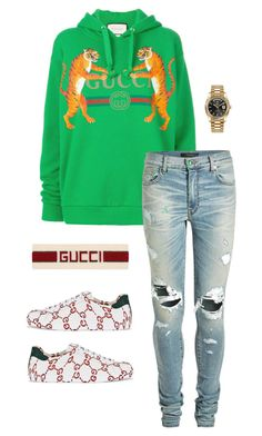 A menswear look from February 2018 featuring mens destroyed jeans, mens leather sneakers and mens gold watches. Browse and shop related looks. Dope Outfits For Guys, Swag Outfits Men, Sneakers Fashion Outfits, Trendy Outfits, Gucci Outfits, Mens Clothing Uk, Hype Clothing, Zapatillas Jordan Retro, Lesbian Outfits