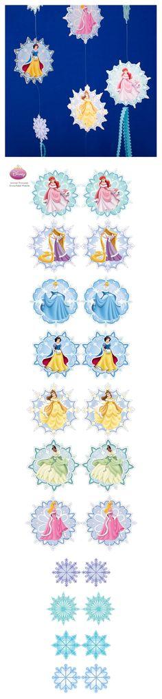 Window Decorations for Christmas : Disney Princess Snowflake Mobile Disney Diy, Disney Crafts, Disney Love, Walt Disney, Mickey's Very Merry Christmas, Mickey Christmas, Christmas Crafts, Disney Window Decoration, Disney Christmas Decorations