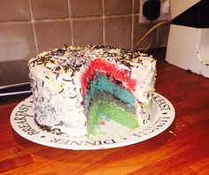 Made by my talented son...age 12. It's a bow cake we didn't have enough colours for the rain!!!