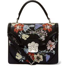 Alexander McQueen Black Flower Embroidered Satchel ($2,440) ❤ liked on Polyvore featuring bags, handbags, handbags purses, top handle handbags, crossbody hand bags, handbags crossbody and flower purse