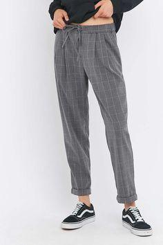 Light Before Dark - Pantalon à carreaux zippé sur le devant gris - Urban Outfitters