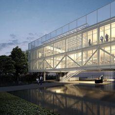 Auditorium Architecture, Facade Architecture, Beautiful Architecture, Architecture Drawings, Concept Models Architecture, Architecture Concept Diagram, Truss Structure, Steel Structure, Mall Facade