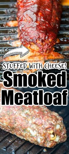 Best smoked meatloaf stuffed with bacon and cheese and covered with barbecue sauce. Amazing smoker recipe with ground beef. #smokedmeatloaf #meatloaf #smokerrecipes #electricsmoker