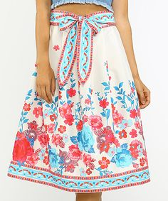 Another great find on #zulily! Ivory & Red Tie-Waist A-Line Skirt by Jealous Tomato #zulilyfinds