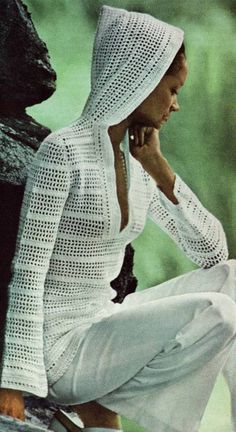 PDF CROCHET PATTERN  Hooded Tunic Pullover  by PastPerfectPatterns, £1.75
