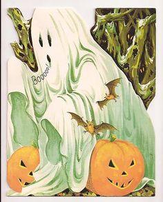 Vintage Halloween Greeting Card ~ Gibson Ghost w/ Jack O' Lantern's. Circa, 1950's.