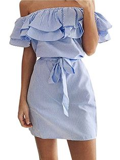 26a68469467 Face N Face Women s Casual Off Shoulder Striped Ruffles Strapless Short  Dresses Mini Dresses X-Large Light BlueMaterial Polyester Please check the  size ...
