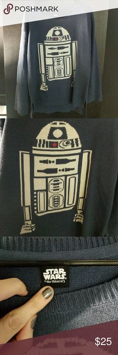 R2D2 ugly Christmas sweater Worn once this sweater is in great condition. I purchased this last year from Hot Topic. The sweater material is soft and stretchy. Very comfortable! Make an offer 🤗 Star Wars Sweaters