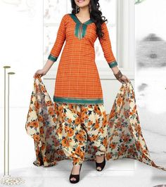 Orange #Printed #Cotton Unstitched Patiala #SalwarKameez  Flat 40% off + stitching worth Rs 2000 free. Use coupon Code #FREE40
