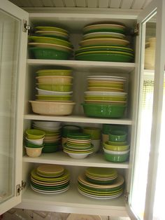 Fiestaware in greens and creams