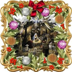 - A kit making an card front with backing/inner and two gift tags. A gold scrollwork frame surrounds a holly leaf bor. Christmas Bird, Christmas Nativity, Gold Christmas, Christmas Images, Beautiful Christmas, Holly Bush, Seasonal Image, Leaf Border, Wink Of Stella