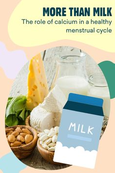 Find out how the right amount of calcium in your diet can lead to a healthier menstrual cycle and a happier you, from alleviating PMS to boosting energy. Pms, Menstrual Cycle, Milk, Healthy, Health