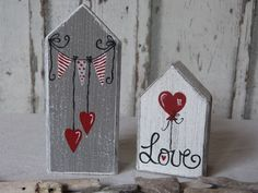 Decorative objects - * 2 wedding cottages in a set * - a designer piece by b . - Decoration objects – * 2 wedding cottages in a set * – a unique product by on DaWanda - Wood Block Crafts, Scrap Wood Projects, Wooden Crafts, Wood Blocks, Craft Projects, Wooden Decor, Valentine Day Crafts, Valentine Decorations, Christmas Crafts