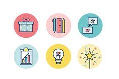 Portfolio project: Flourish Retail brand icons | Beehive Green Design Studio