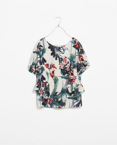 PRINTED TOP WITH FRILLS - Shirts - TRAFALUC | ZARA United States