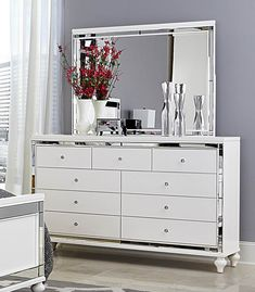Mirrored Dresser and 2 Matching Nightstands Pure White