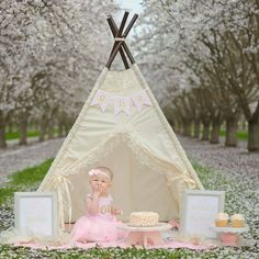ISABELLA teepee tent play tent kids teepee by SugarShacksTeepee Kids Tents, Teepee Kids, Teepee Tent, Play Teepee, Teepees, Teepee Party, Birthday Girl Pictures, First Birthday Photos, Birthday Ideas