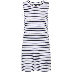 TOPSHOP Breton Stripe PJ Dress (786.485 VND) ❤ liked on Polyvore featuring dresses, navy blue, navy blue dress, rayon dress, viscose dress, topshop dresses and topshop