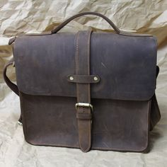 Vintage Handmade Genuine Crazy Horse Leather Messenger Bag / Satchel / Briefcase