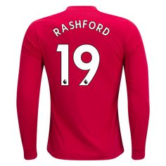17/18 Manchester United #19 Rashford Long Sleeve Home Jersey adidas