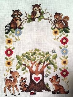 Woodland Babies Birth Announcement Cross Stitch