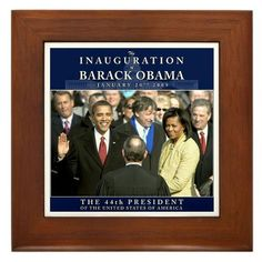 """Obama Inauguration Photo Framed Tile by CafePress by CafePress. $15.00. Quality construction frame constructed of stained Cherrywood. Rounded edges. Frame measures 6"""" X 6"""" x 0.5"""" with 4.25"""" X 4.25"""" tile. Two holes for wall mounting. 100% satisfaction guarantee return policy. Relive the Moment Obama was sworn in as the 44th President of the United States with this Inauguration Photo. This memorabilia will be a cherished keepsake for generations to come."""