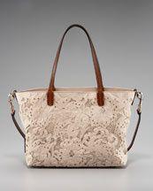 Valentino Inlaid Lace Tote in Sand Denim Handbags, Fashion Handbags, Tote Handbags, Neiman Marcus Shoes, Lace Bag, Valentino Handbags, Designer Totes, Patchwork Bags, Simple Bags