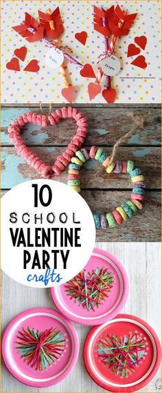 10 School Valentine Party Crafts.  Valentine games and crafts for little hands.  Cheap and easy Valentine's Day activities.