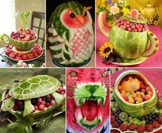 Awesome watermelon carvings!  Definitely going to try a few of these easier ones for a party!!!