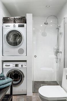 Laundry Room Inspiration, Bathroom Design Inspiration, Bathroom Interior Design, Laundry Bathroom Combo, Small Bathroom, Small Utility Room, Ideas Baños, Laundry Room Organization, Deco Design