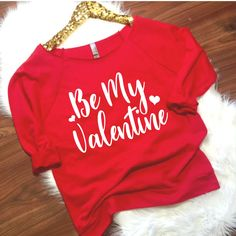 Be My valentine 3/4 sleeve terry raw edge top,S-2XL, Valentines Day Clothing, Valentines Sweatshirt, Valentines Day Shirt, Hugs and Kisses by ShopatBash on Etsy