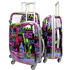 ABS NY Printed Cabin Travel Luggage Black