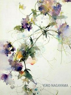 La imagen puede contener: planta y flor Watercolor Artwork, Watercolor Landscape, Abstract Flowers, Watercolor Flowers, Botanical Illustration, Japanese Art, Flower Art, Art Drawings, Watercolors