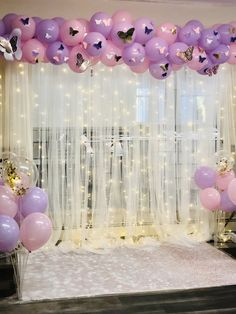 Sweet 16 Party Decorations, Quince Decorations, Birthday Balloon Decorations, Quinceanera Decorations, Girl Baby Shower Decorations, Quinceanera Planning, Baby Shower Themes, Butterfly Party Decorations, Butterfly Birthday Party