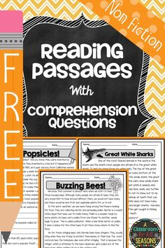 Need a quick reading check? Need a reading comprehension passage that is high interest? Try these free reading comprehension passages with questions.  I struggle to find non fiction reading comprehension passages that are high interest for my students. Many of my students are struggling readers, so I value passages that are interesting and fun for ... Read More about Reading Comprehension Passages