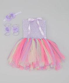 This Lavender & Pink Fairy Tutu Dress Set by Tulles of Love is perfect! #zulilyfinds