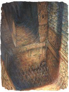 Spiked Pit Trap undercity dungeon ruins Old school trap floor pathfinder rpg d&d Batman Concept, Alien Concept Art, Fantasy Concept Art, Fantasy Art, Underwater Tattoo, Underwater Ruins, Moana Concept Art, Disney Concept Art, Jungle Illustration