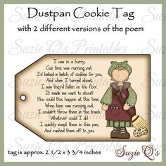 Dustpan Cookies Tag with 2 different poems CU Digital image 0 Funny Christmas Gifts, Homemade Christmas Gifts, Christmas Humor, Homemade Gifts, Christmas Crafts, Christmas Ideas, Christmas Printables, Christmas Stuff, Christmas Neighbor
